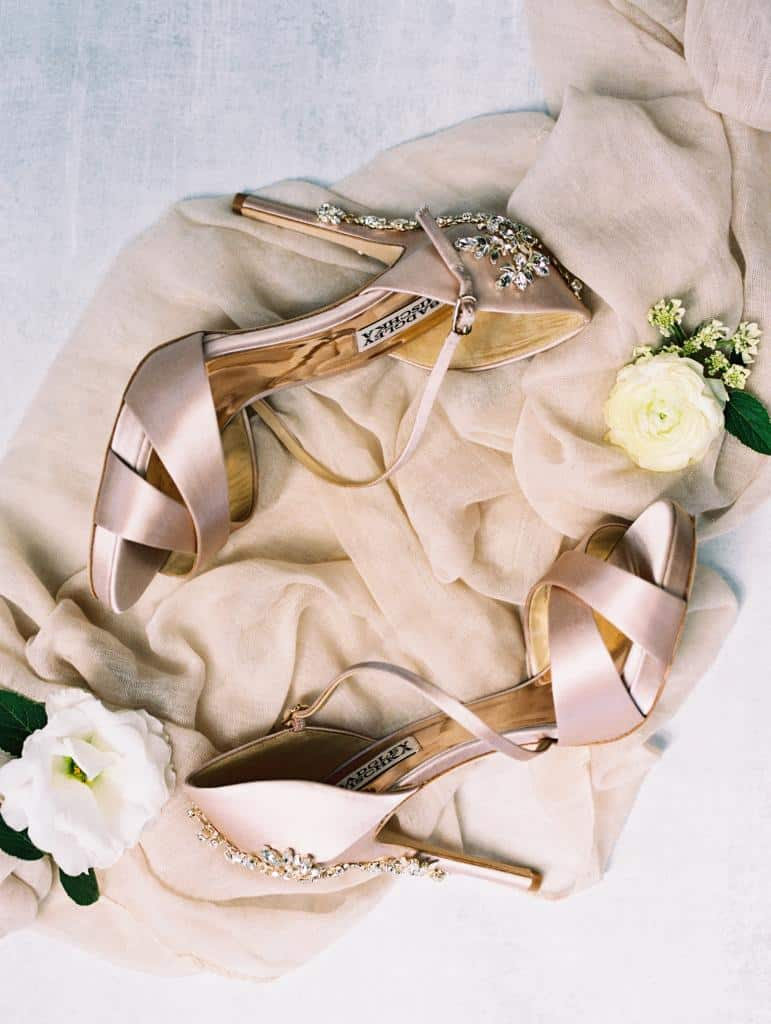Gorgeous blush colored, jewel encrusted heels