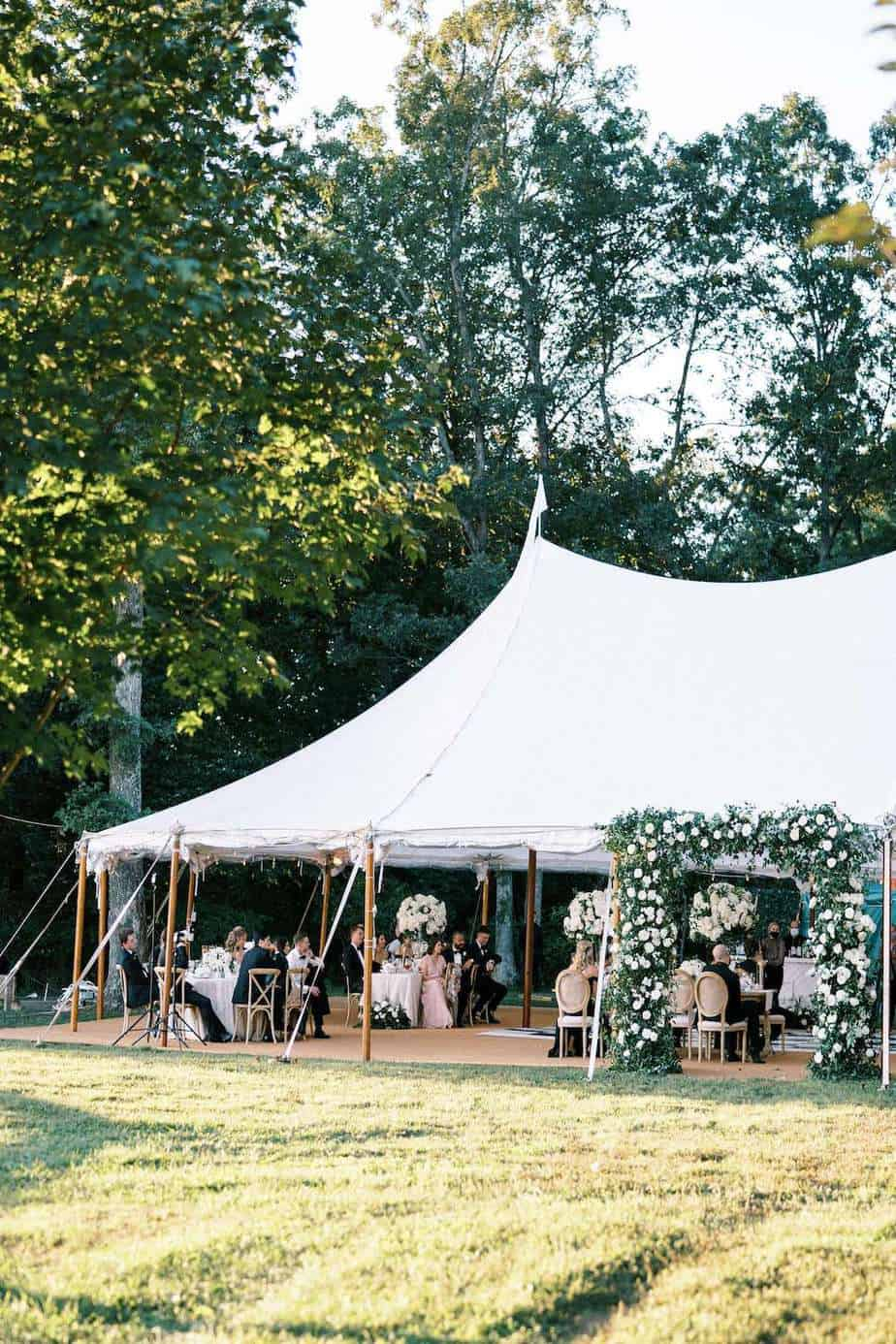 Goodstone Inn wedding sailcloth tent in the Woodsy Garden